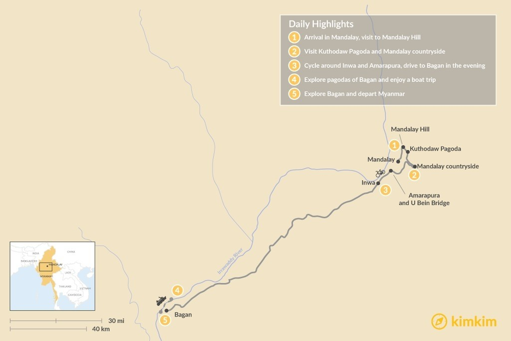 Map of Highlights of Mandalay and Bagan - 5 Days
