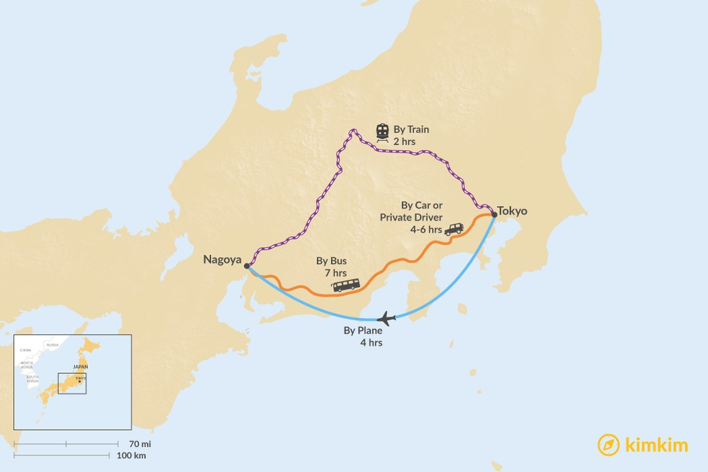 Map of How to Get from Tokyo to Nagoya