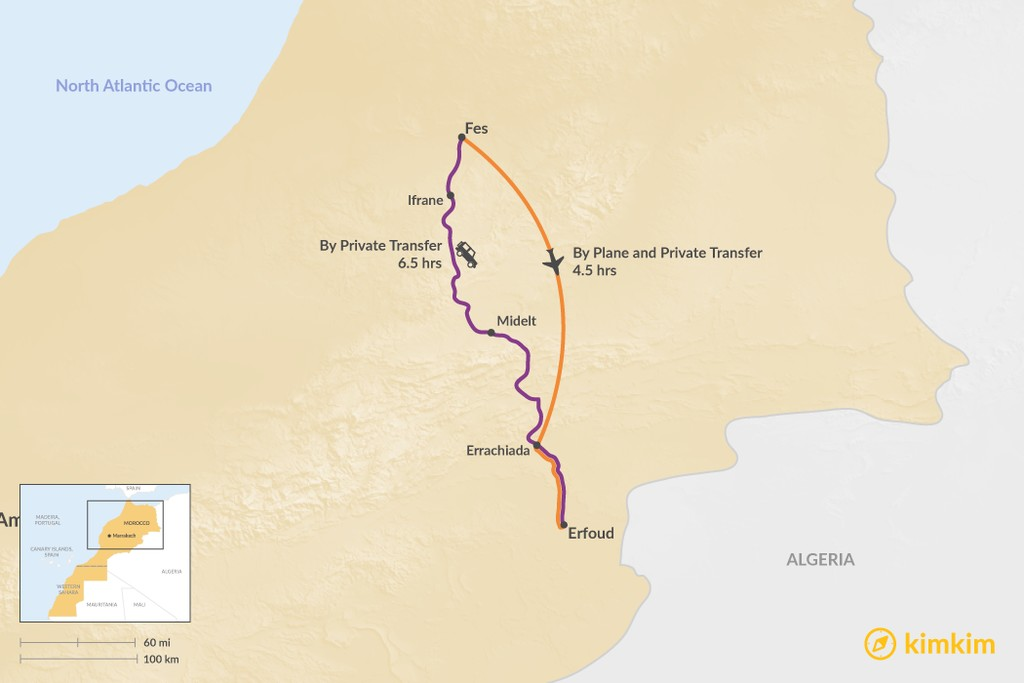 Map of How to Get from Fes to Erfoud