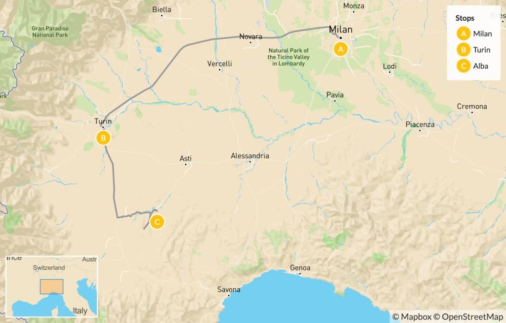Map of Food & Wine in Piedmont: Turin, Alba & Barolo - 6 Days