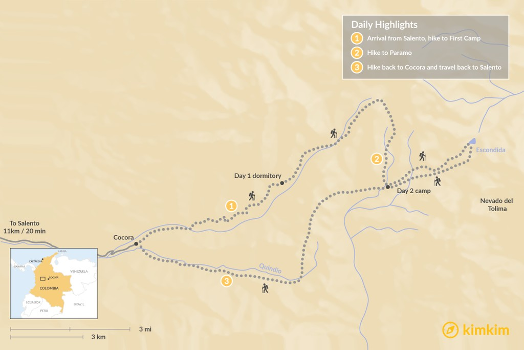 Map of Los Nevados Trek - 3 Days