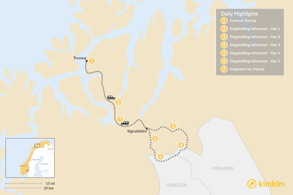 Map of Multi-Day Dogsledding Adventure from Tromsø - 7 Days