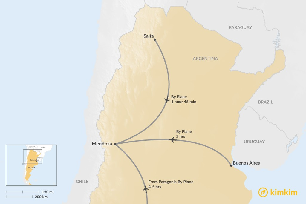 Map of How to Get to Mendoza