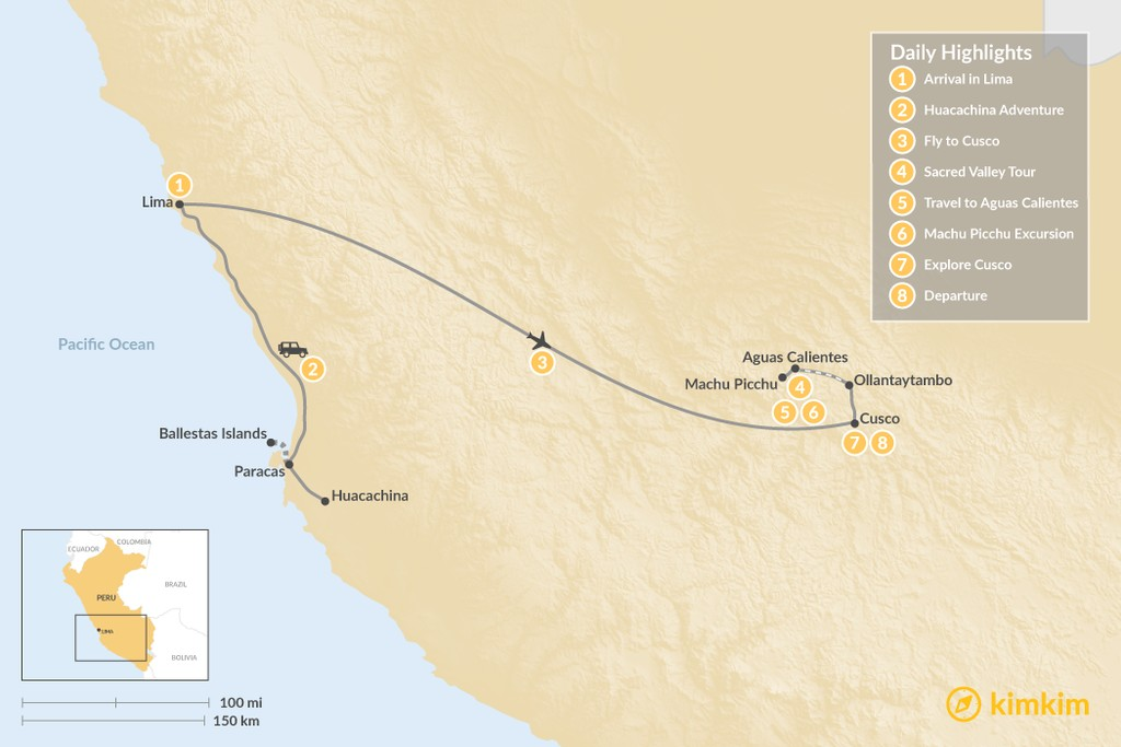 Map of Peru's Cities, History, & Ecotourism - 8 Days