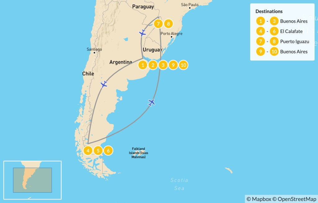 Map of Classic Argentina: Patagonia & Iguazú - 11 Days