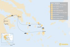 Map thumbnail of Cyclades & Peloponnese Culinary Heritage - 8 Days