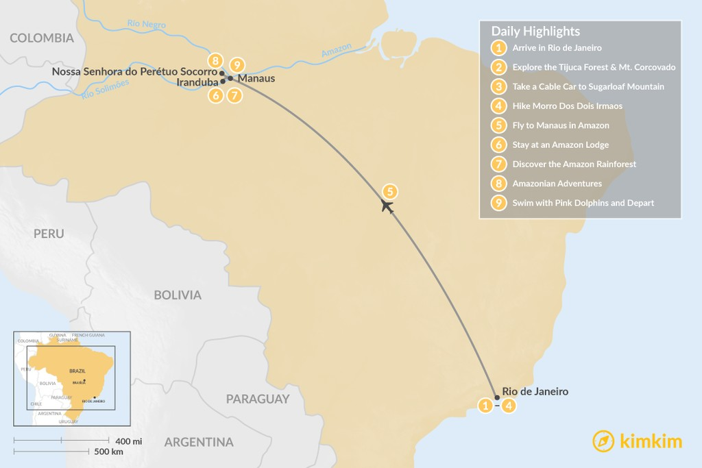 Map of A Brazilian Adventure, from Rio to the Amazon – 9 Days