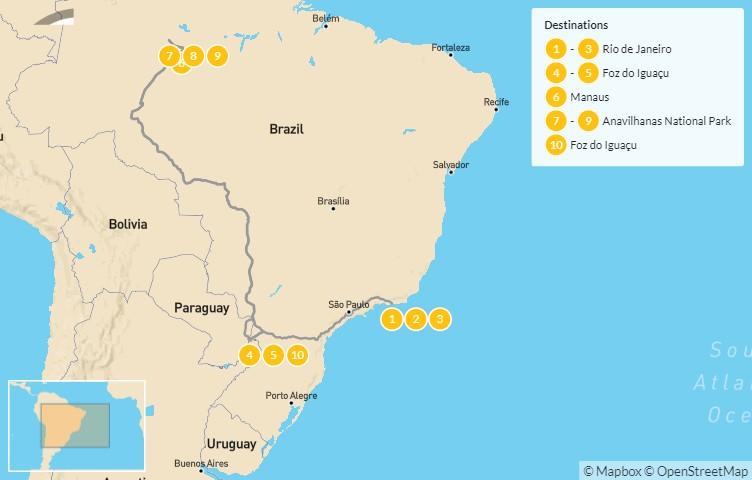 Map of Brazil Highlights: Rio de Janeiro, Iguaçu Falls & Amazon Rainforest - 10 Days