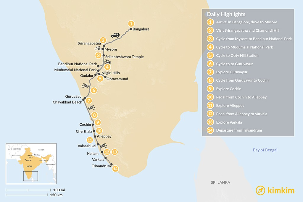 Map of Cycling Karnataka and Kerala — 14 Days