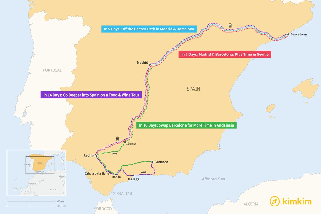 Map of Ultimate Spain Itineraries: 5, 7, 10, & 14 Days