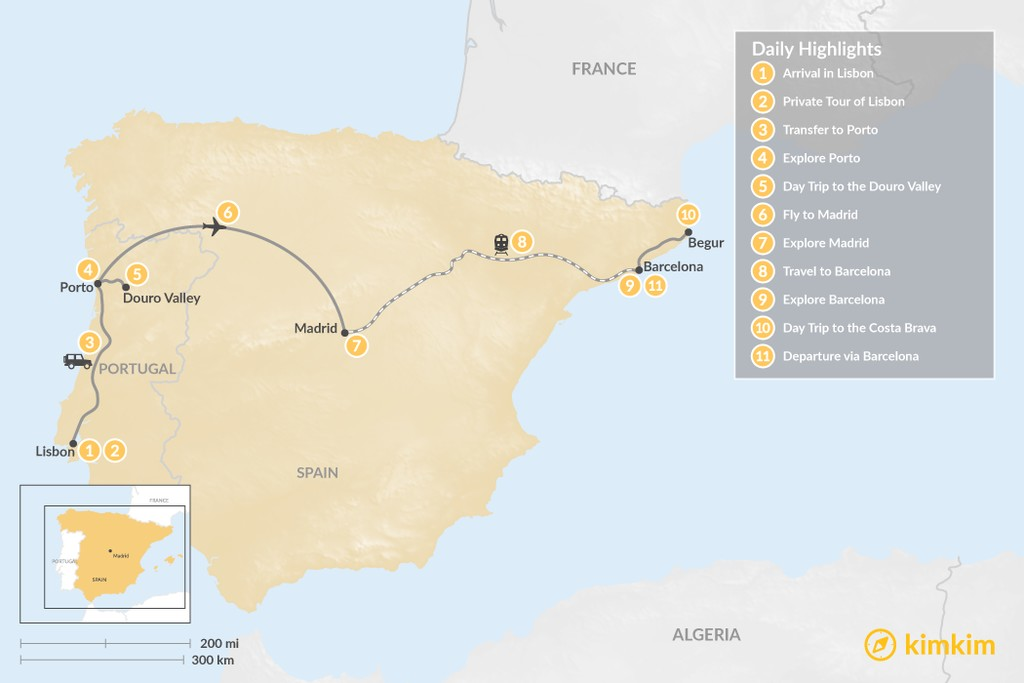 Map of Highlights of Spain & Portugal: Cities, Beaches, & Culture - 11 Days