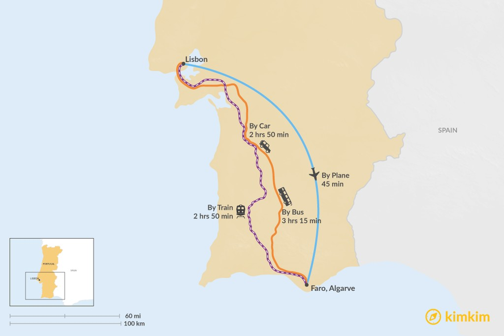Map of How to Get from Lisbon to Algarve