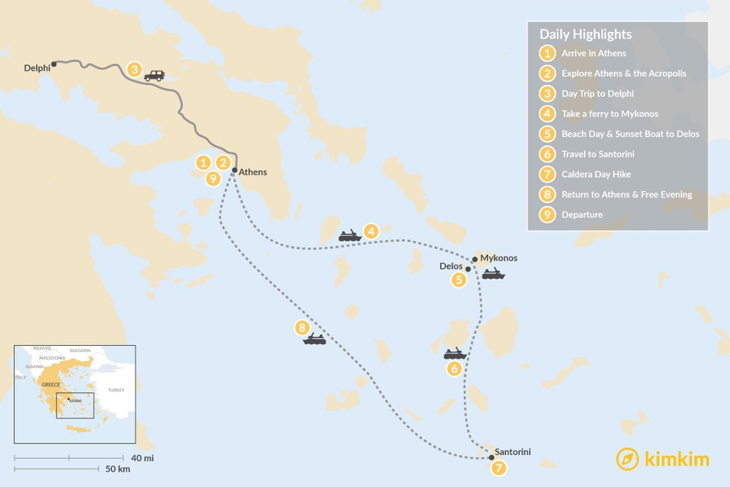 Map of Greek Hotspots in Athens, Mykonos & Santorini - 9 Days