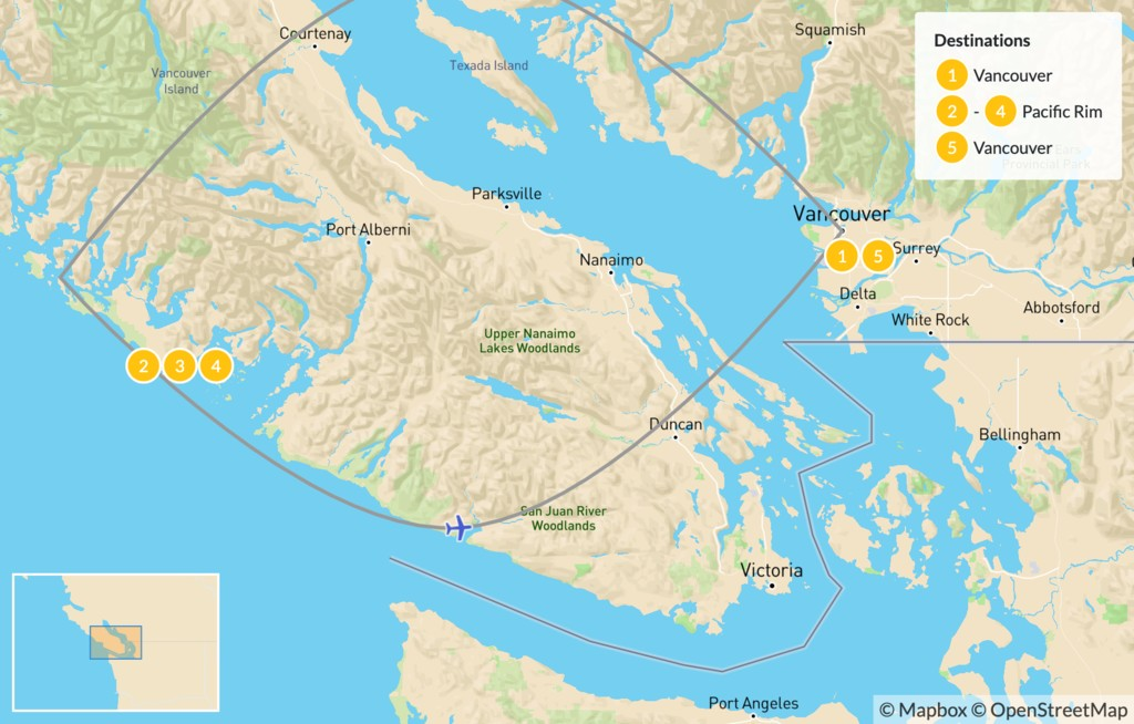Map of Pacific Rim Adventure: Vancouver to Tofino by Flight - 6 Days