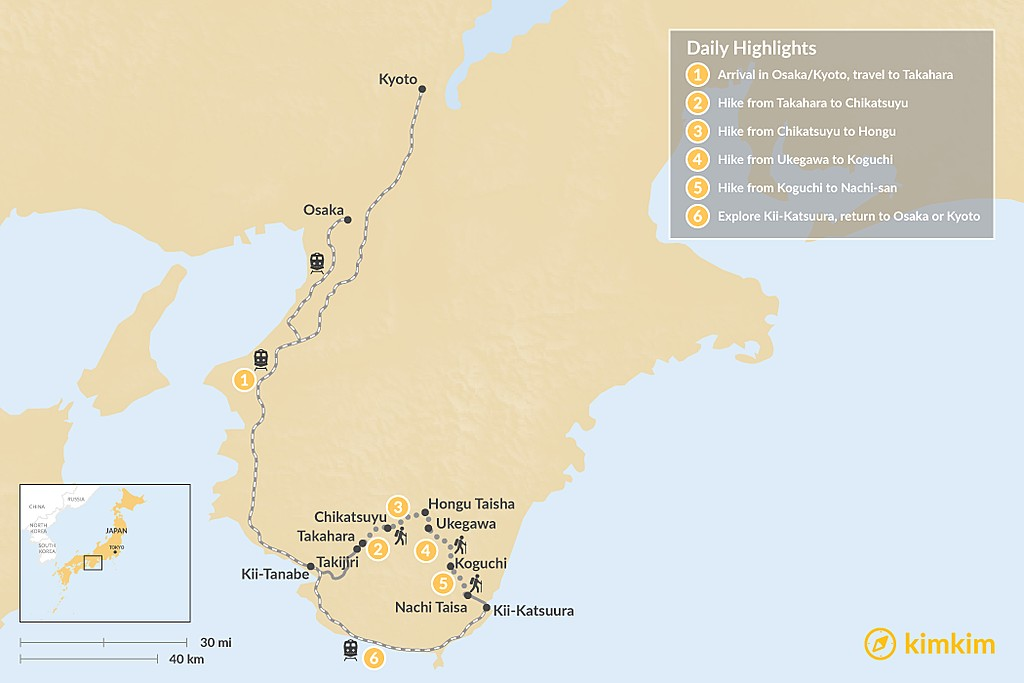 Map of Kumano Kodo Self-Guided Tour - 6 Days