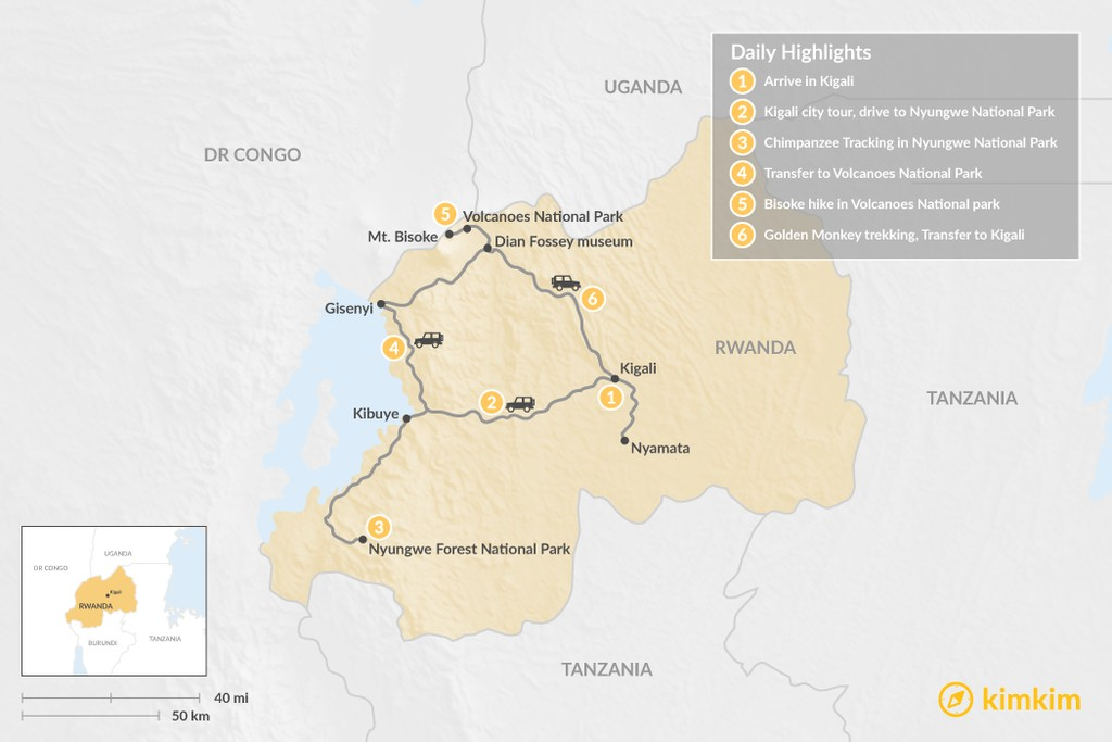Map of Remarkable Rwanda - 6 Days