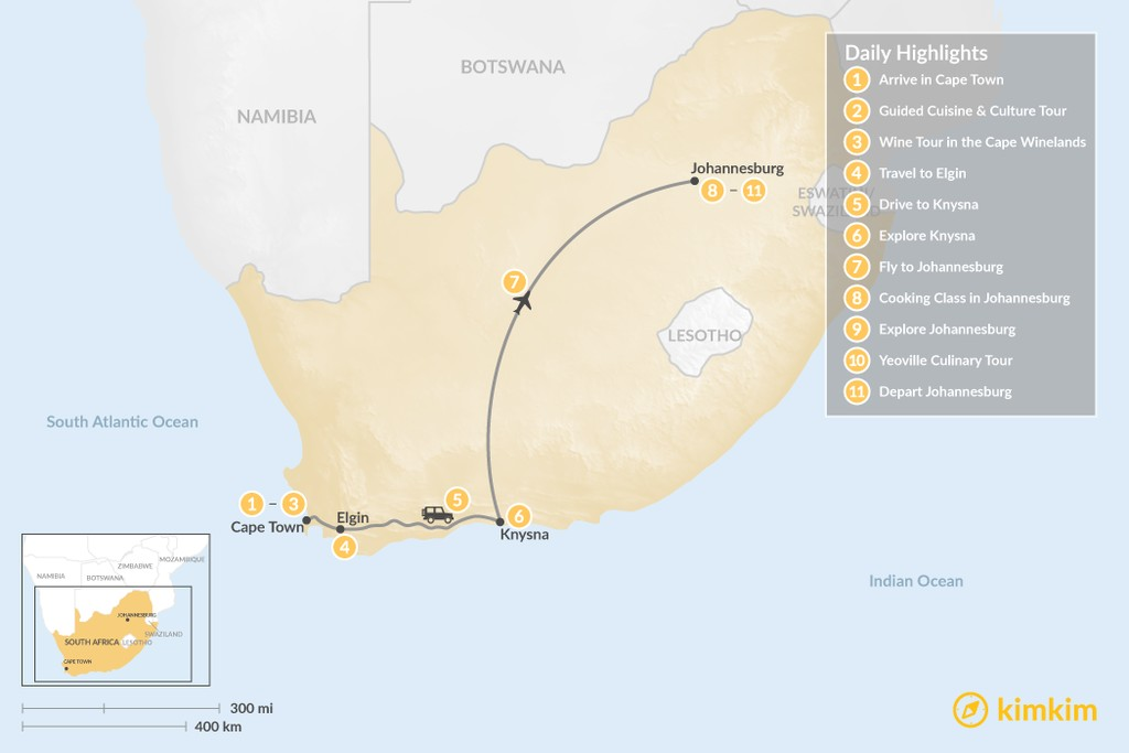 Map of South Africa Food & Wine Tour: Cape Town, Garden Route, & Johannesburg - 11 Days