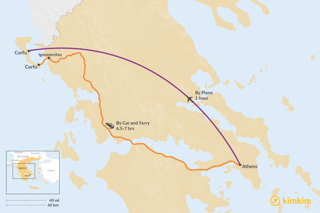 Map of How to Get from Athens to Corfu