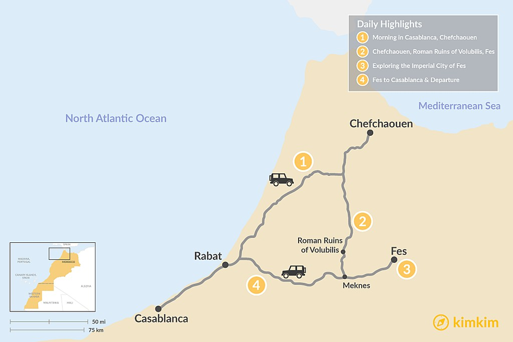 Map of Casablanca, Chefchaouen, & Fes - 4 Days