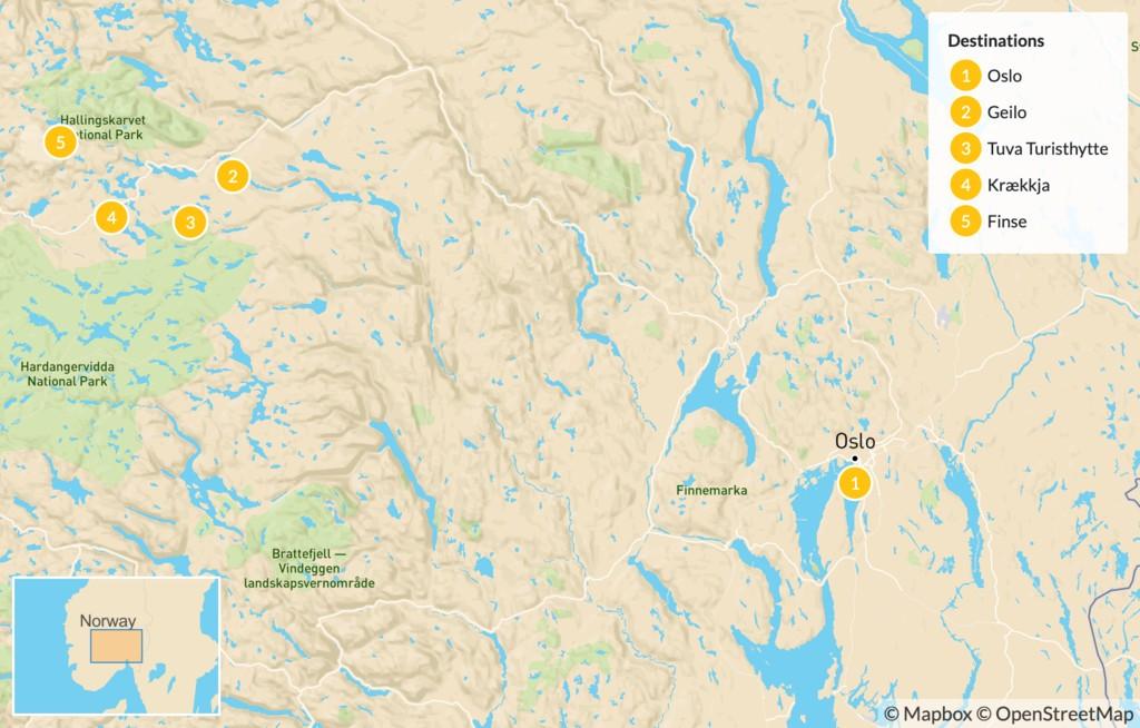 Map of Multi-Day Trek in the Norwegian Highlands - 6 Days
