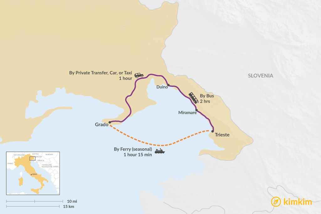 Map of How to Get from Grado to Trieste