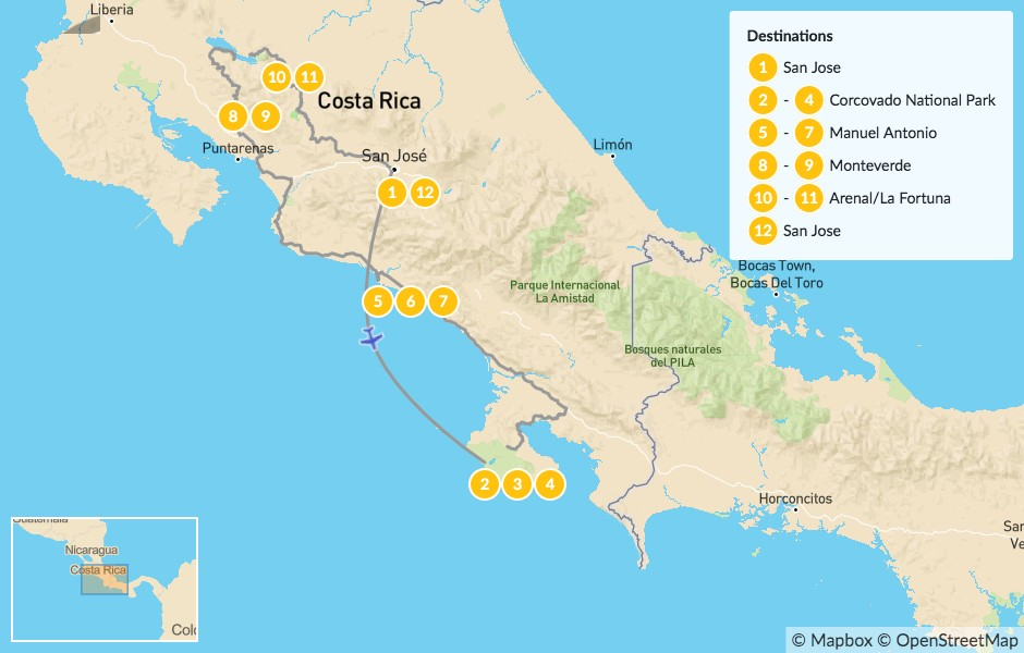 Map of Highlights of Costa Rica Wildlife - 12 Days