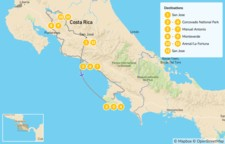 Map thumbnail of Highlights of Costa Rica Wildlife - 12 Days