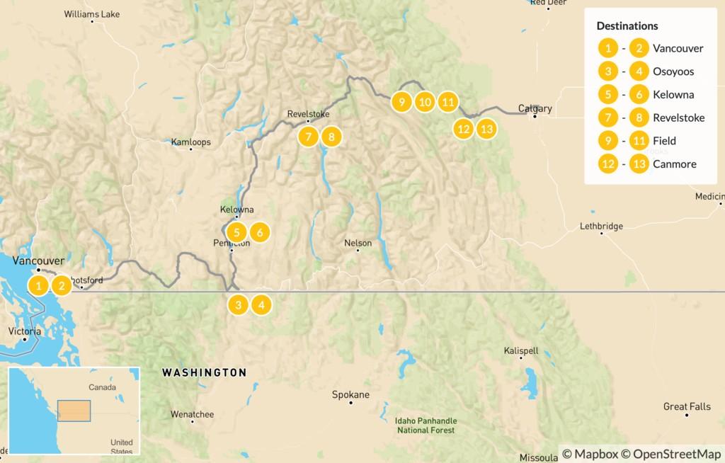Map of Vancouver to Calgary Road Trip: Okanagan Valley & Canadian Rockies - 14 Days