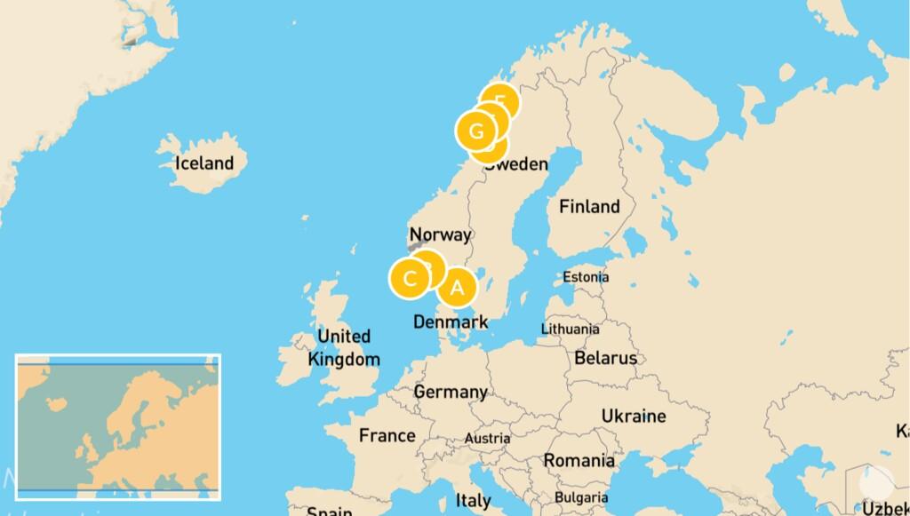 Map of Fjords and Islands Adventure: Oslo, Aurland, Bergen, Vesterålen, Lofoten, & More - 14 Days