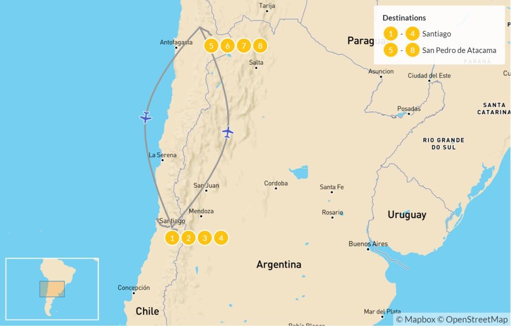 Map of Santiago & Atacama Desert Tour - 9 Days