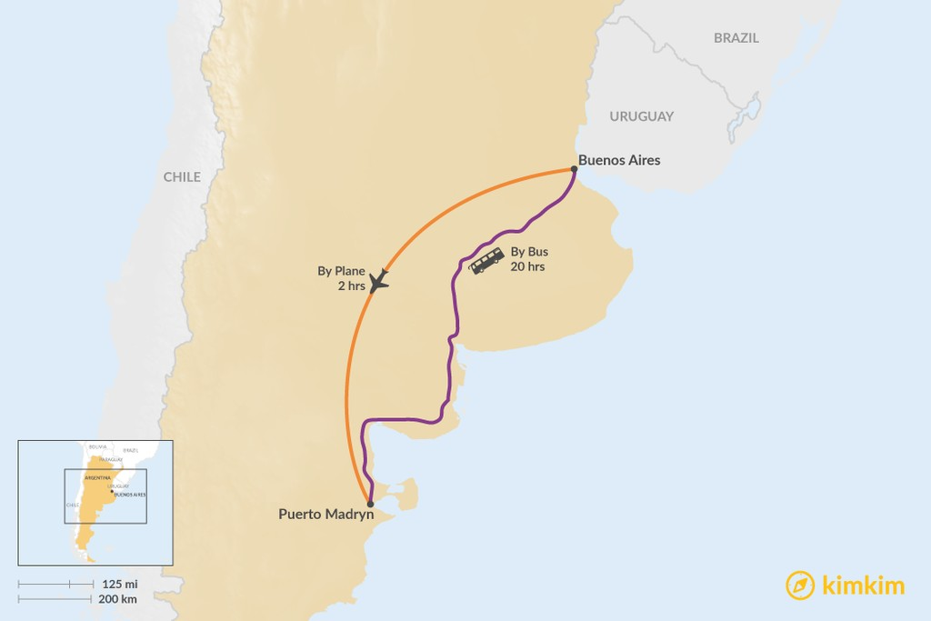 Map of How to Get from Buenos Aires to Puerto Madryn