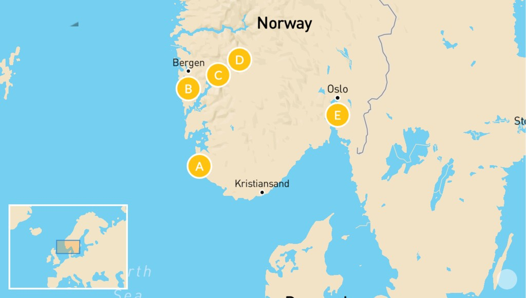 Map of Ultimate Fjord Road Trip: Lysefjord, Bergen, Voss, Aurland, & More - 10 Days