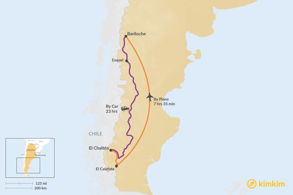Map of How to Get from El Chaltén to Bariloche