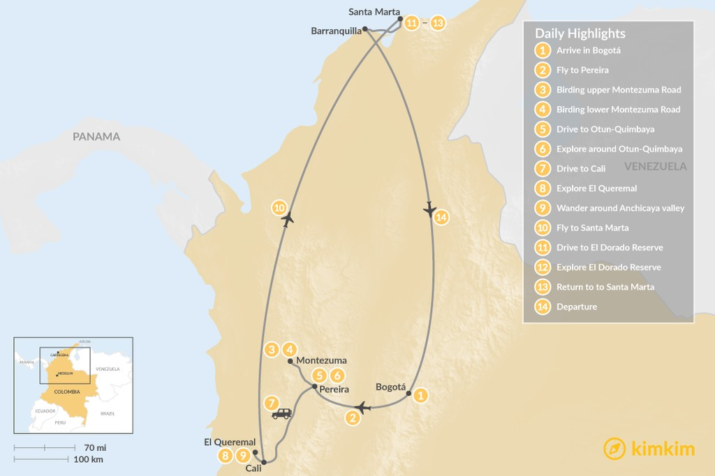 Map of Colombia Epic Birdwatching Tour: Western Andes & Santa Marta - 14 Days