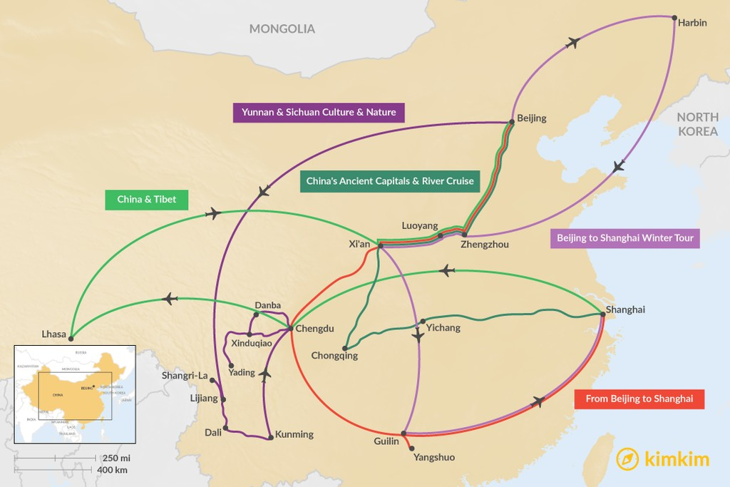 Map of 14 Days in China - 5 Unique Itinerary Ideas