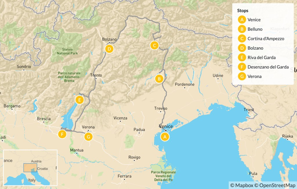 Map of Mountains and Lakes in Northern Italy: The Dolomites, Lake Garda, Verona & More - 13 Days