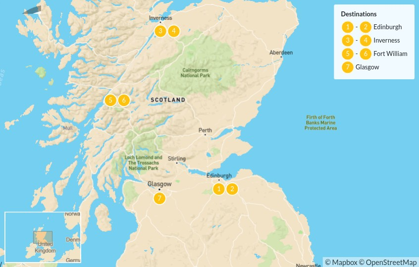 Map of Scottish Highlands Self-Drive Tour: Edinburgh, Inverness & Loch Ness - 8 Days