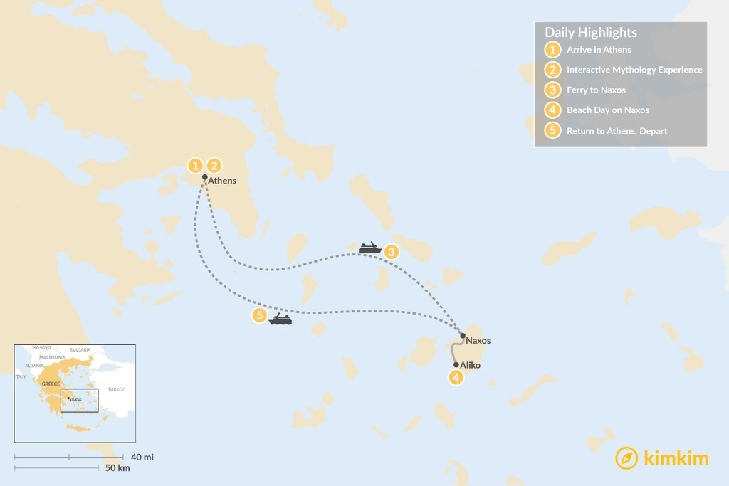 Map of Family Adventures in Athens and the Cyclades - 5 Days