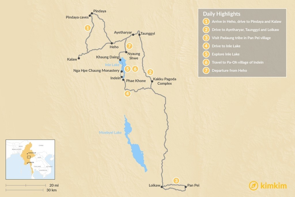 Map of Eastern Myanmar: Off-the-Beaten-Path in 7 Days