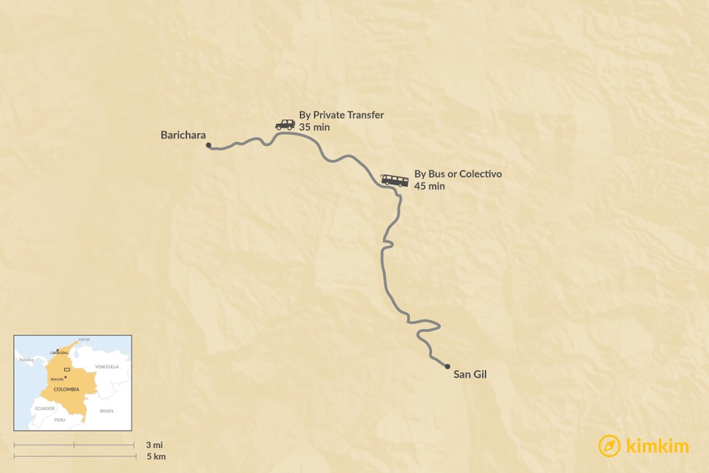 Map of How to Get from San Gil to Barichara