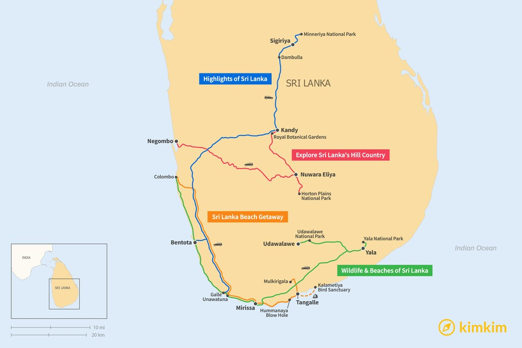 Map of 5 Days in Sri Lanka - 4 Unique Itineraries