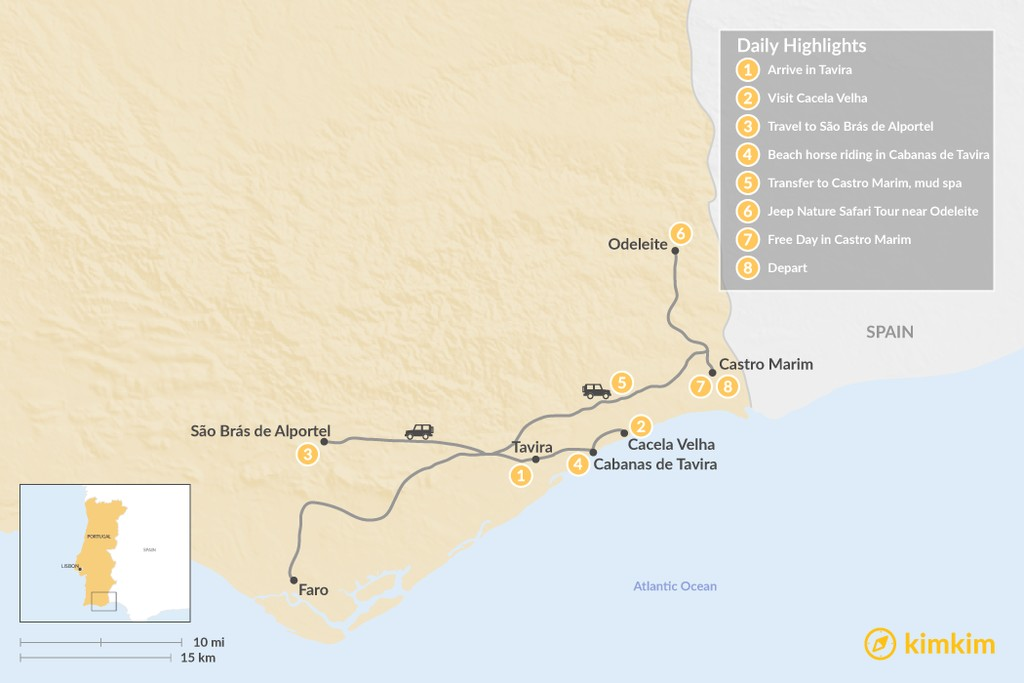 Map of Secrets of the Eastern Algarve - 8 Days