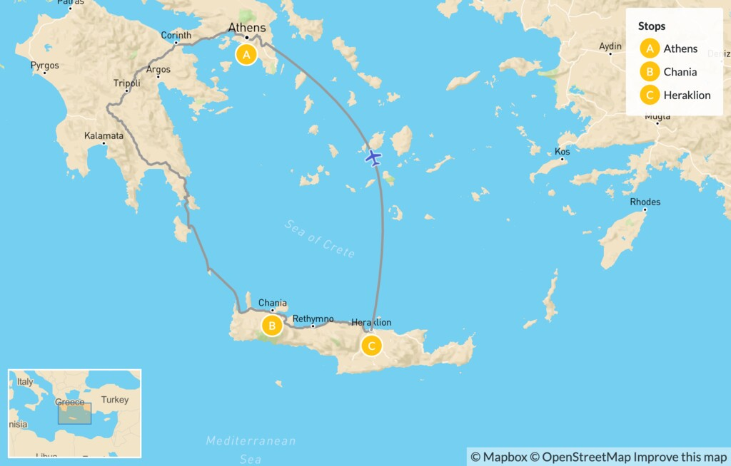 Map of Interactive Athens and Crete for Families - 10 Days