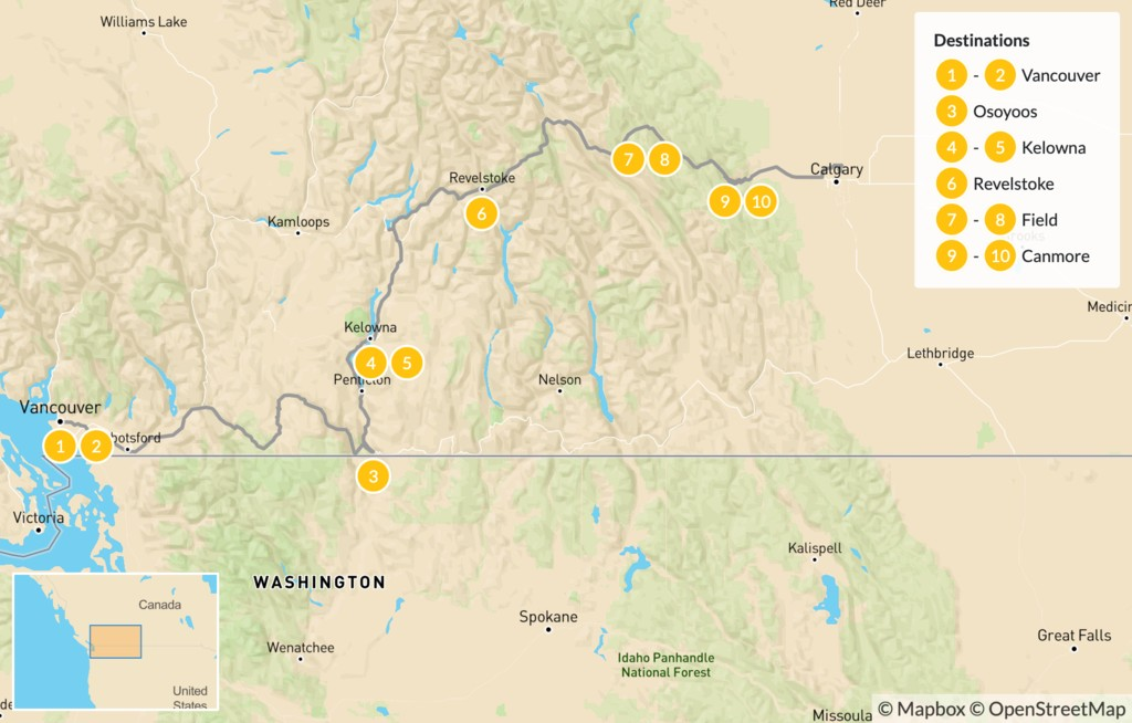 Map of Vancouver to Calgary Road Trip: Okanagan Valley & Canadian Rockies - 11 Days