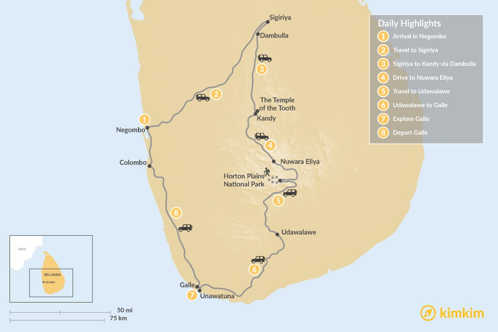 Map of Highlights of Sri Lanka - 8 Days