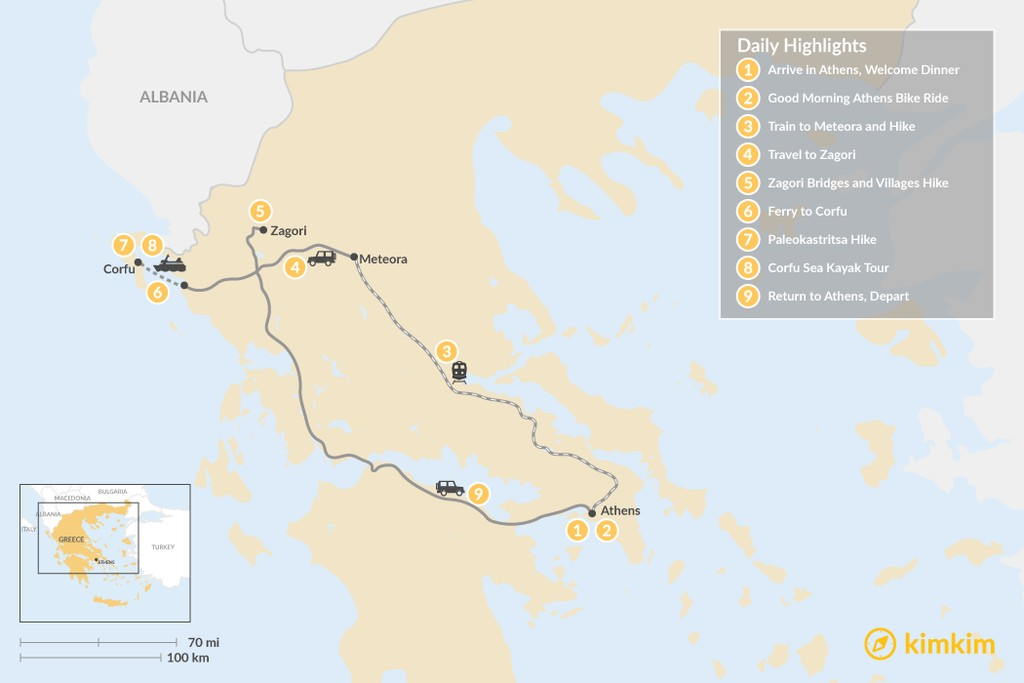 Map of Adventurous Athens, Central Greece, and Corfu - 9 Days