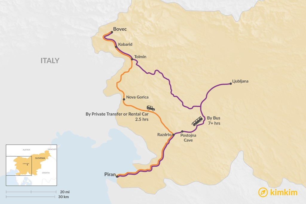 Map of How to Get from Bovec to Piran