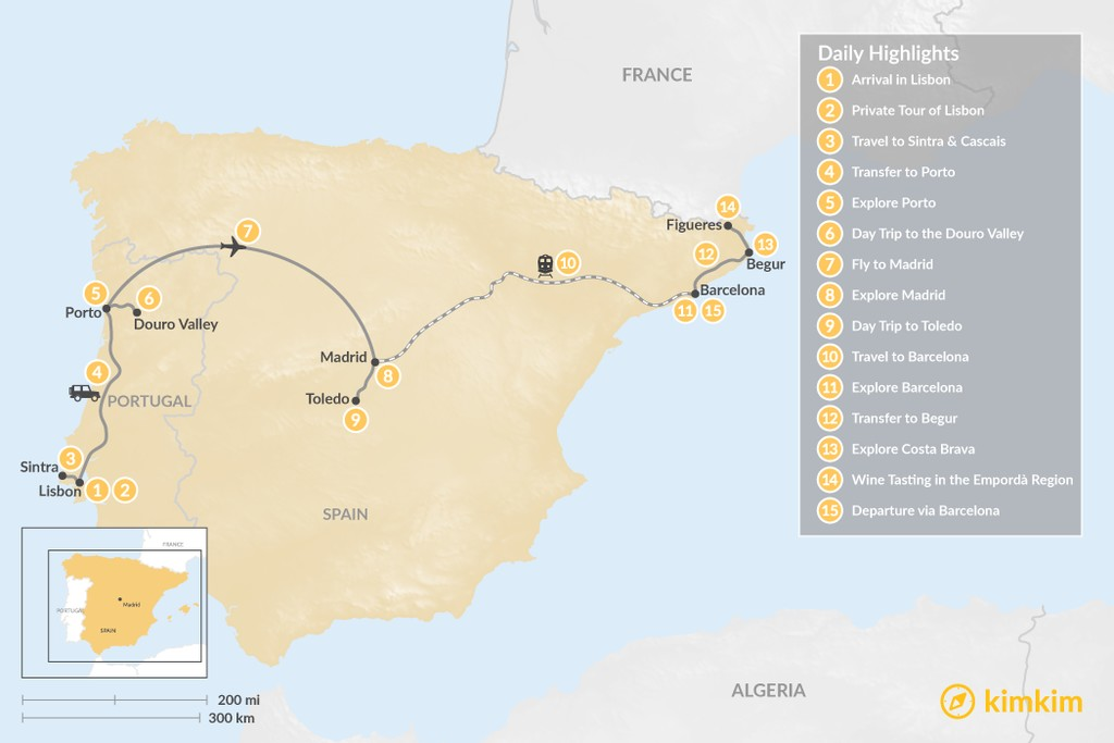 Map of Highlights of Spain & Portugal: Cities, Beaches, & Culture - 15 Days