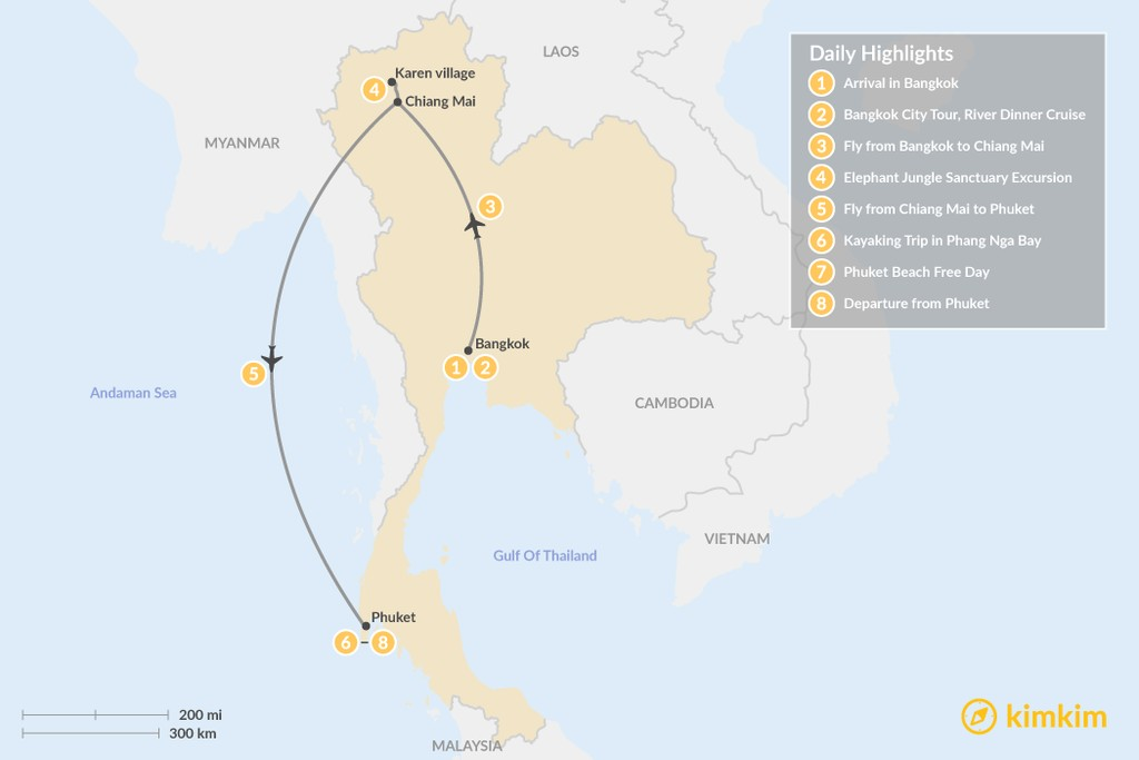 Map of Best of Thailand - 8 Days
