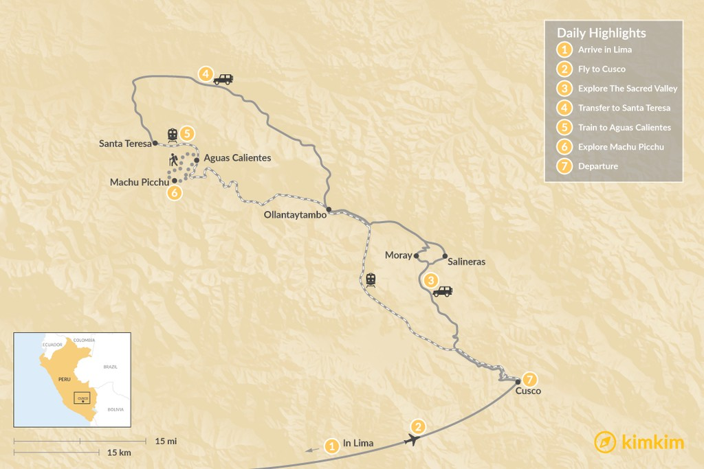 Map of Sacred Valley to Machu Picchu: Jungle Adventure - 7 Days